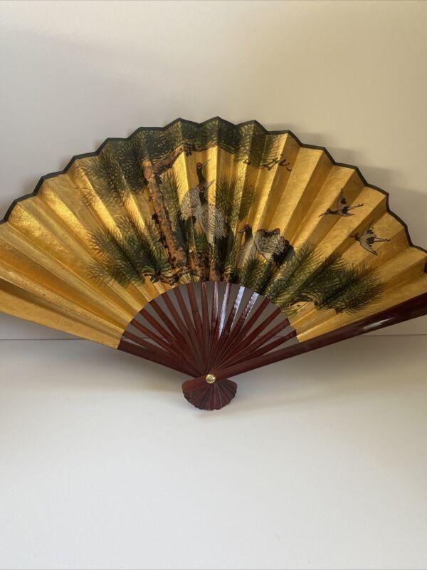 Vintage Gold Japanese Wall Fan Wood Large Crain Birds Large