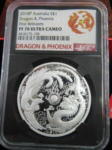 2018P SILVER AUSTRALIA DRAGON & PHOENIX FIRST RELEASES NGC PF70 ULTRA CAMEO