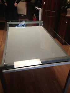 White dining room table with glass top Ingle Farm Salisbury Area Preview