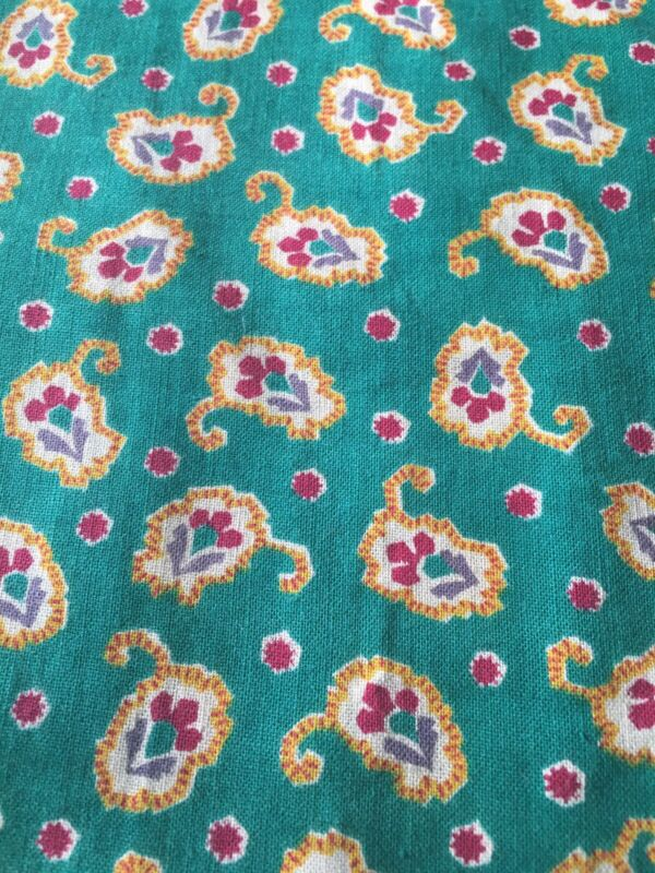 Vintage French Provincial Foulard Paisley Floral Cotton Fabric ~ Green Magenta