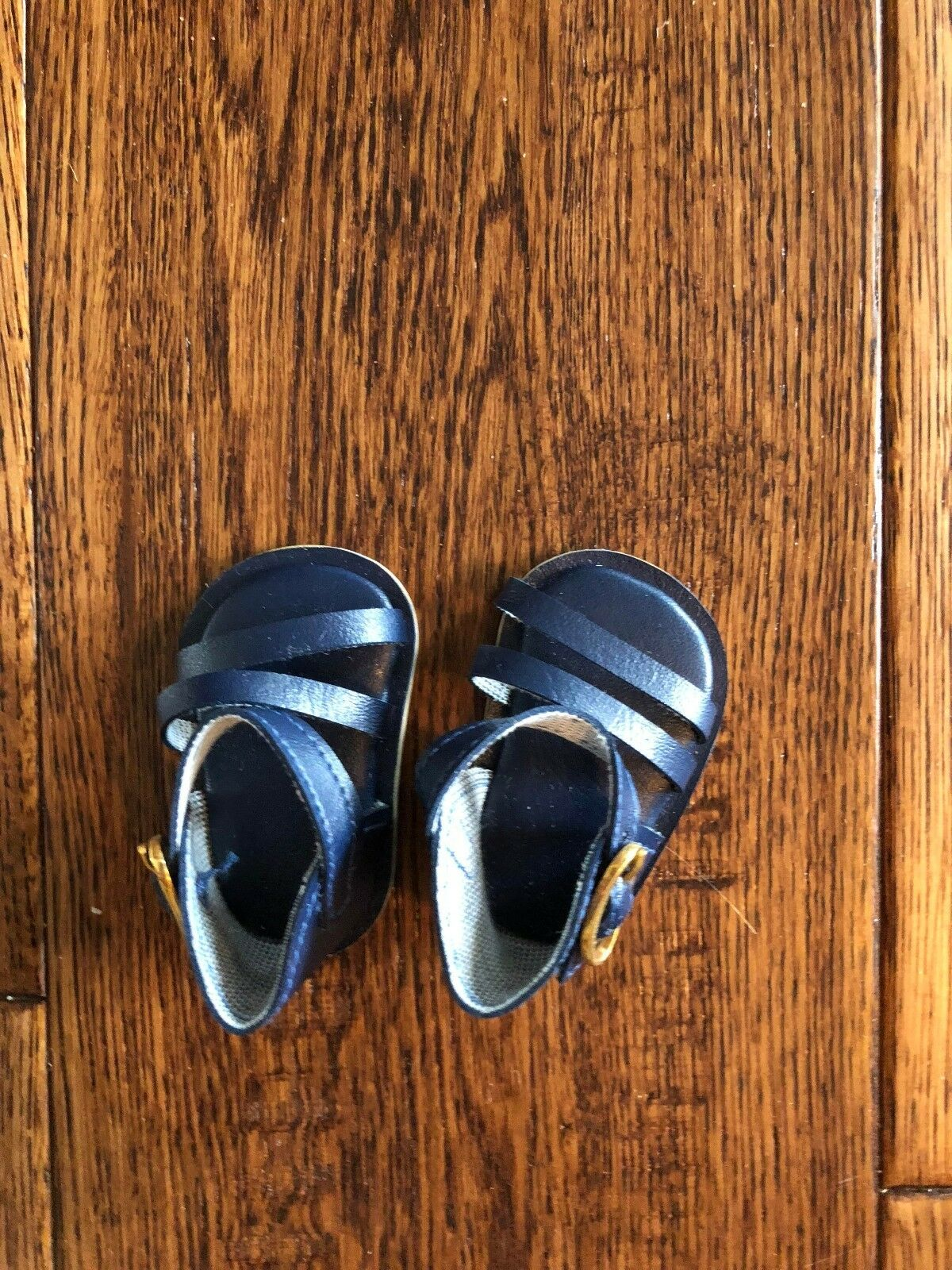 Navy Blue  Madame Alexander Sandals Gold Buckles  for 12'' Baby Doll