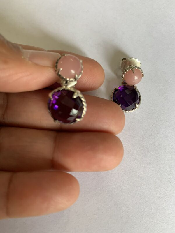 David Yurman Chatelaine Double-drop Earrings With Amethyst And Guava