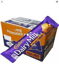Cadbury Dairy Milk Whole Nut Chocolate Bar 45g x 48 Full Box Cadburys Case Pack