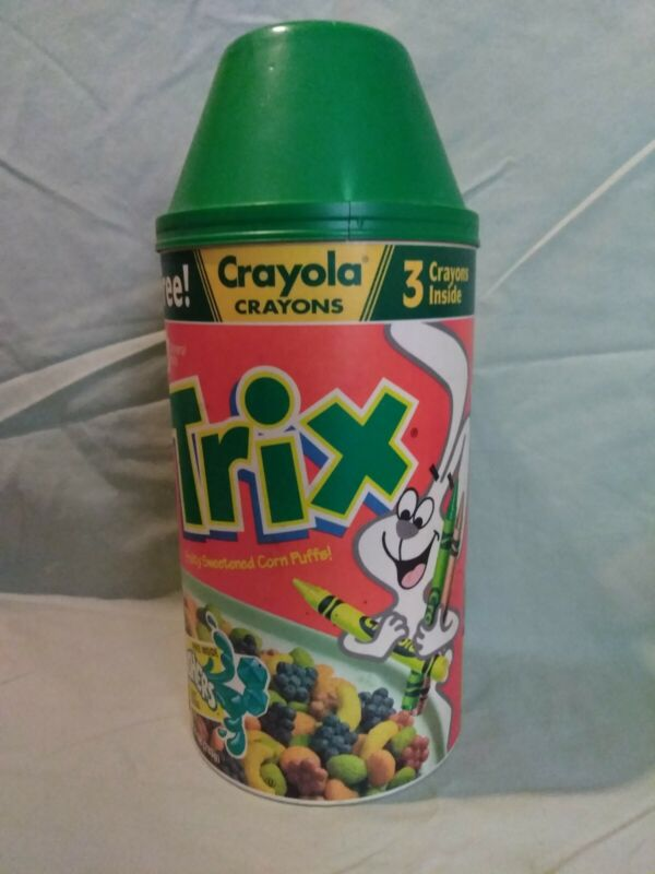 TRIX 1994 General Mills Crayola Can Tube Cereal Box