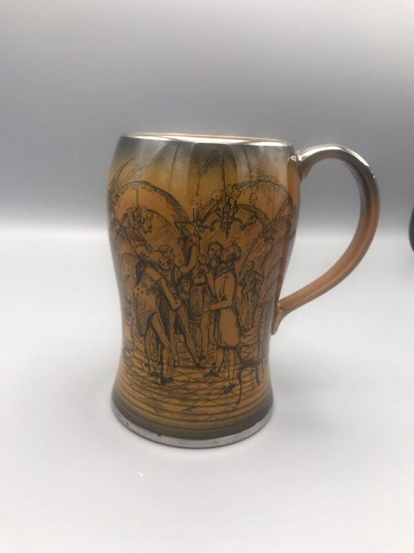 VTG Crown Devon Fieldings Ceramic Tankard Mug w/ Drinking Scene~ Made in England
