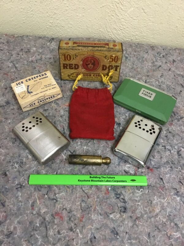 Lot Of Assorted Vintage Items-Advertising Tin, Folding Binoculars, Handwarmers