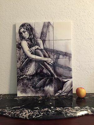 "Hangable Tile Mural  / Mermaid Mural / Bathroom Art / Mermaid Art 18""x24"""