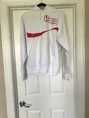 Champion x Coca-Cola Coke Hoodie White Reverse Weave Mens Small