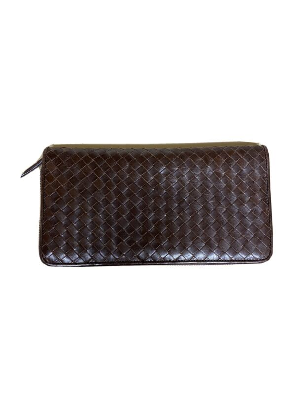 Cole Haan Vintage Zippered Woven Leather Wallet