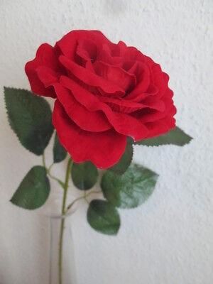 Rose 55cm Künstliche Kunst Seiden Blumen Pflanzen Wohnideen (Künstliche Rote Rosen)