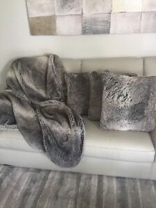 Soft Faux Fur Throw and Cushion Covers