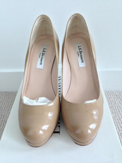b9634eb495e LK Bennett Sledge taupe patent leather platform courts