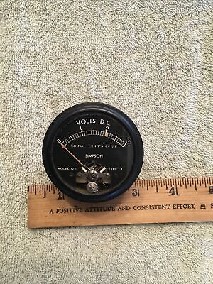 Vtg Military Signal Corps Ww2 Wwii Radio Panel Meter Simpson Volts Dc 0-3 Me465