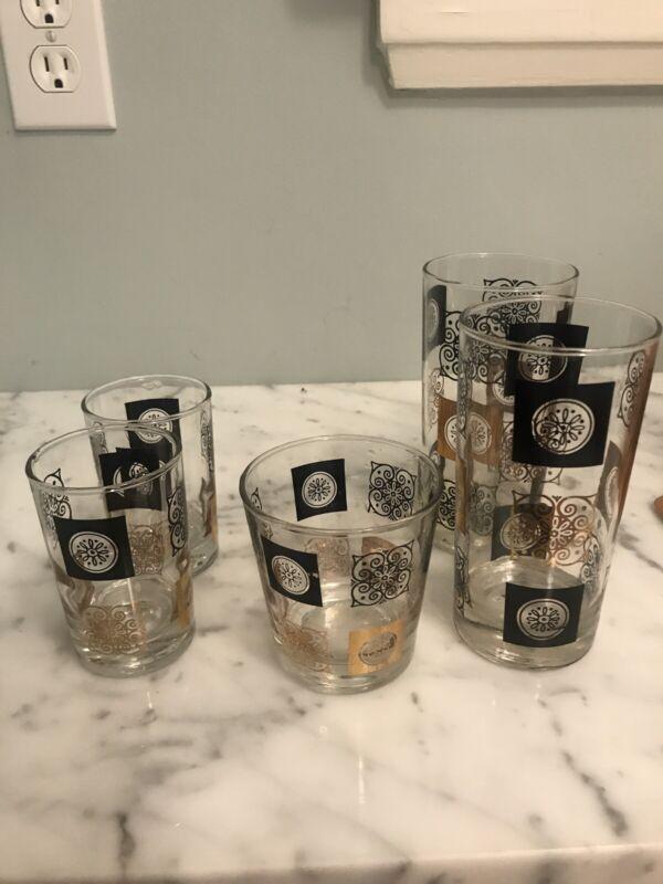 Vintage Anchor Hocking Set 5 Glasses Mid Century MCM Black Gold Pattern