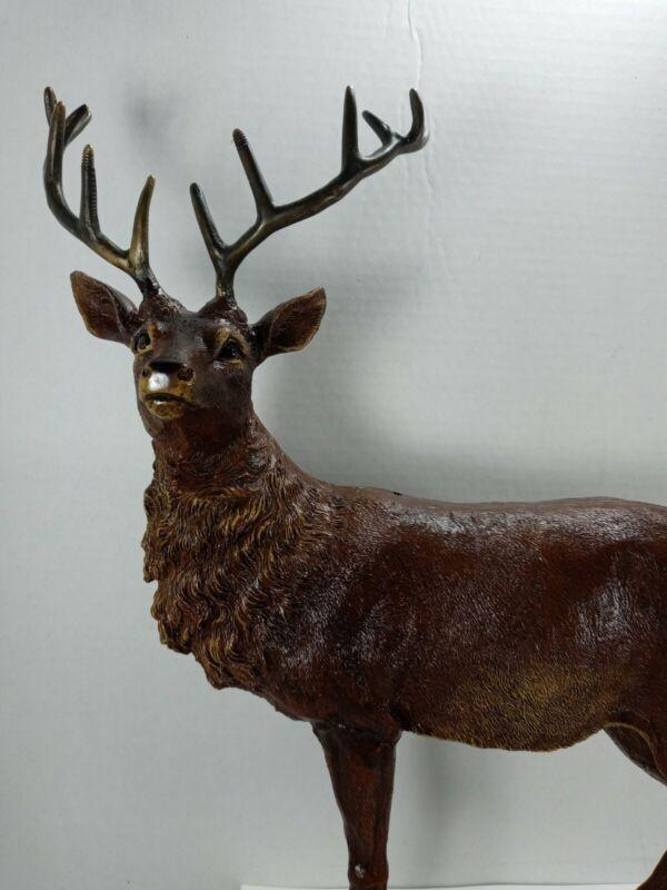 "17"" tall Deer Buck Statue Desktop Figurine Deer Ornament  with brass antlers"