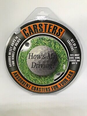 Thirstystone Car Coasters Carsters How's My Driving/ Golf  -