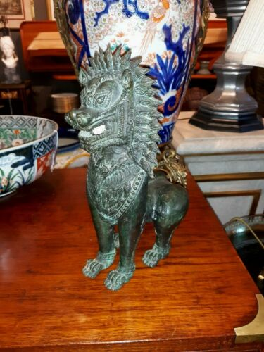 Antique Thai Bronze Foo Dog Sculpture