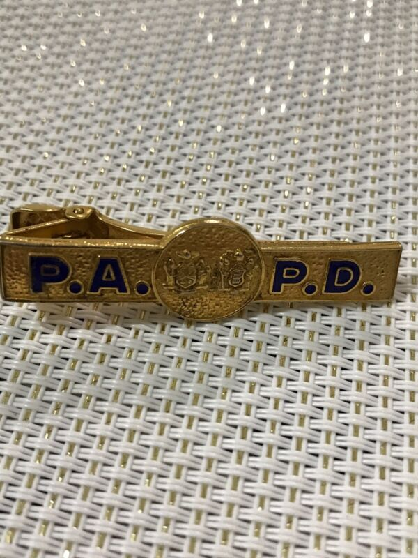PA PD TIE clasp clip bar GOLD police department pin Clip