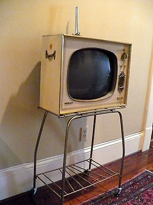 "Vintage Portable Television RCA Victor 14"" Tube TV Model with Original Stand"
