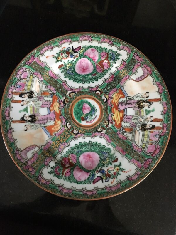 "Large Japanese Porcelain Gold Imari Handpainted PINK GREEN Plate 10"" NEAR MINT"