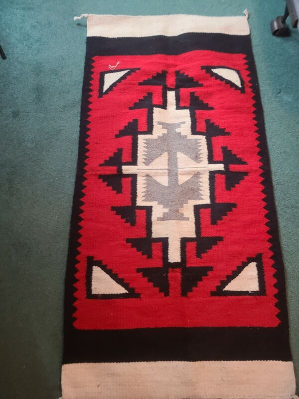 WOOL RUG  RUNNER    INDIAN  MEXICAN  SOUTHWESTERN  PATTERN  APPROX 58X28 INCHED