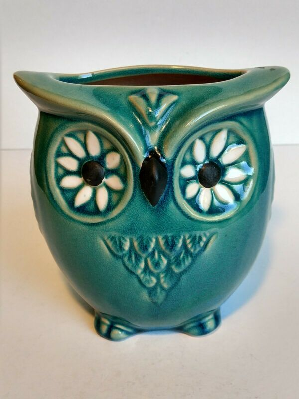 "Ceramic Owl Vase Planter Aqua Fall Halloween Decor H 5"" x L 5"" x W 3 3/4"""