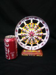 HAND PAINTED CIRCUS  WAGON WHEEL STYLE WALL CLOCK,ODD,PSYCHEDELIC,OOAK,WEIRD,odd