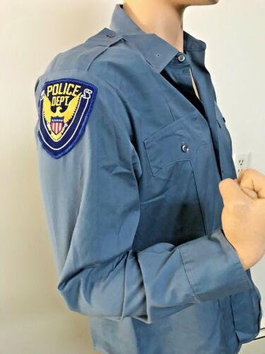 Retired Vintage Conqueror Police Dacron Cotton Shirt w/ Patches 15 1/2 x 33