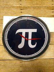 Pi Brushed Nickel Glass Wall Clock Funny Geek Math Pie