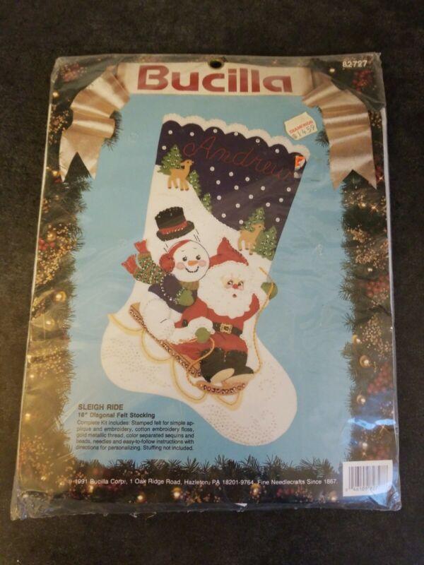 "Bucilla Christmas Sleigh Ride Felt Stocking Kit #82727 Santa & Snowman 18"" Diag."
