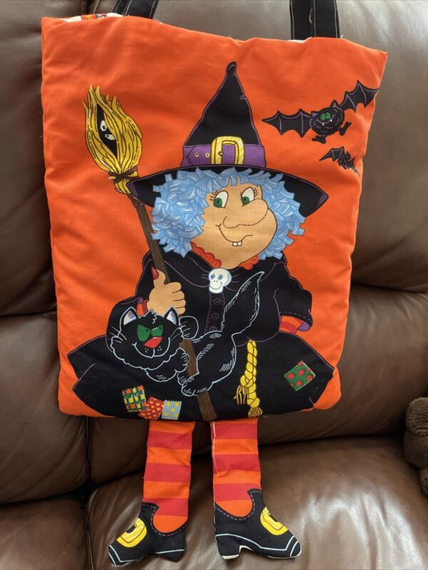 VTG Orange Witch Dangly Legs Trick Or Treat Fabric Tote Bag Reversible