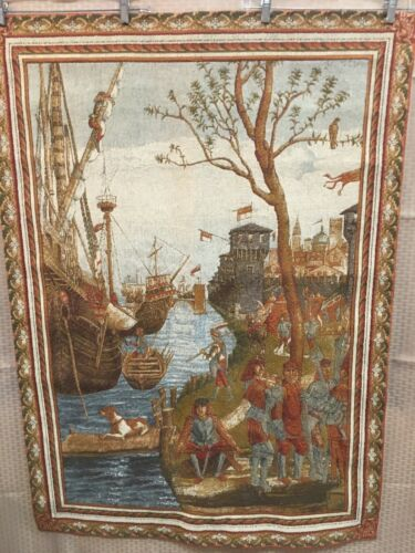 Tapestry Ancient Ships in Port