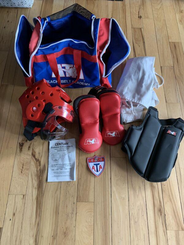 "ATA Taekwondo Karate Bag Black Belt Academy 24"" Sparring Duffel and Equipment"