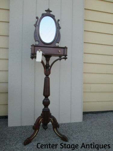 57815 ANTIQUE VICTORIAN MAHOGANY SHAVING MIRROR STAND