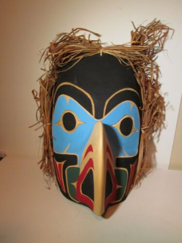 Stunning! Native West Coast EAGLE Mask Haida Tlingit Salish ~ SIGNED Saqi Ospite