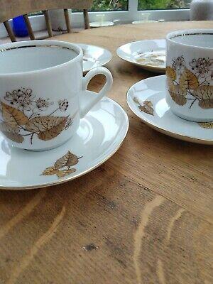 Retro Kahla Cup, Saucer, Plate X 2 Brown Leaf Design