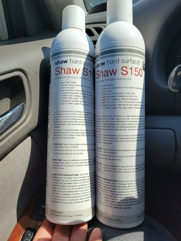 2 lot SHAW - S150-95 Hard Surface Spray Adhesive 22oz Vinyl Sheet/Plank/Tiles