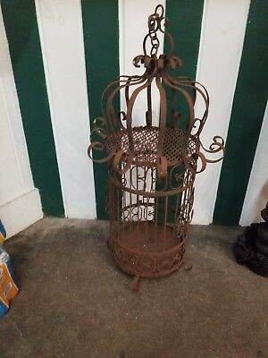 "Very Large Vintage Ornate Black Iron Metal Bird Cage or Garden Decor 2' 9"" Tall"