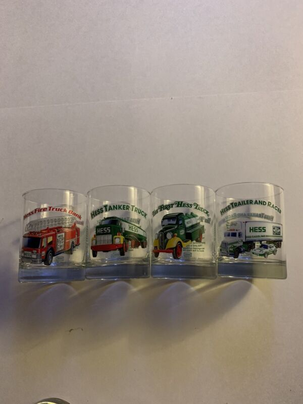 Hess Truck Drinking Glasses 1996 Classic Truck Series Preowned Vintage 4 In Set