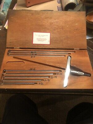 Starrett No 445 Depth Gage Micrometer 0 - 9 Complete Set With 6 Base Case Usa