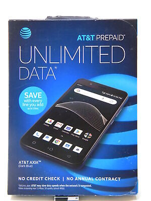 """AT&T Prepaid Axia 16GB Smartphone 5.5"""" Blue Cell Phone 5MP/2MP Android 8.1 Oreo"""