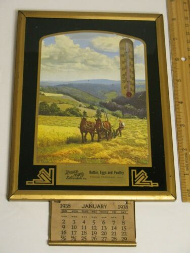 1938 ROSCOE MOYER SILVERDALE PA BUTTER EGGS POULTRY DROP CALENDAR THERMOMETER