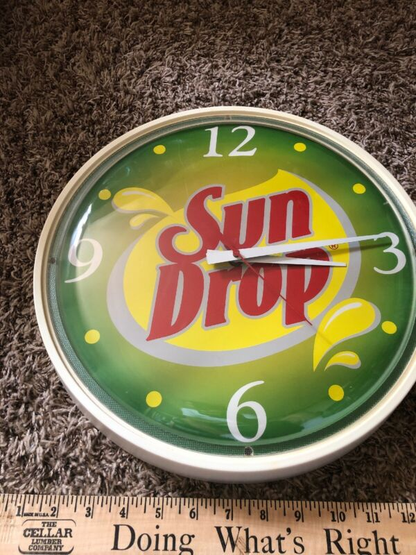 Vintage Citrus Sun Drop Cola Large Wall Clock 13 1/2 Advertising