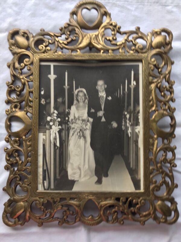 Vintage Ornate Brass/Metal Heavy Picture Frame