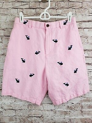 Brooks Brothers Boys Linen Shorts Pink Whales Size 18