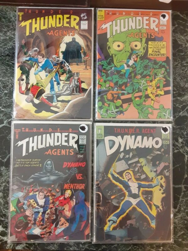 THUNDER Agents 3 4 8 and Dynamo 2 TOWER COMICS LOWER GRADE SILVER AGE