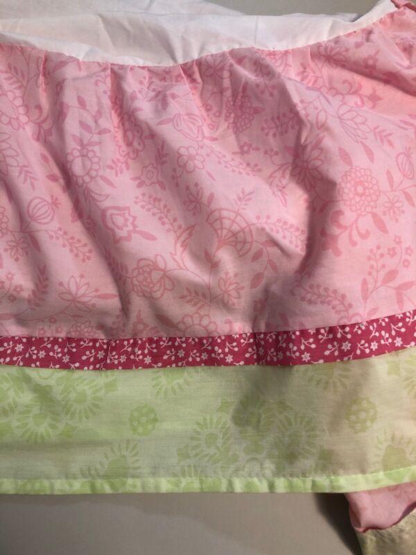 Kidsline Crib Skirt Dust Ruffle Baby Girl Nursery Crib Pink Flowers GUC