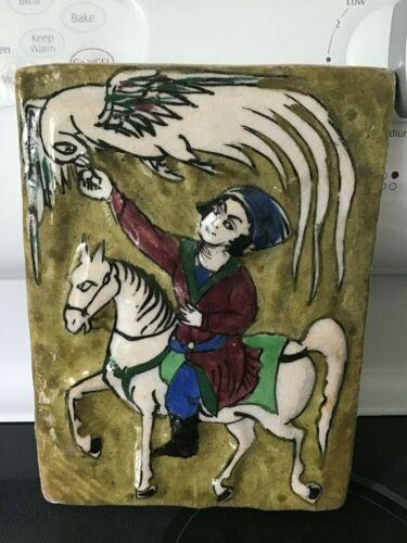 Antique Middle Eastern Persian Tile Falcon Horse