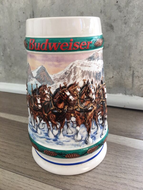 """Vintage Budweiser 1993 Holiday Stein - """"Special Delivery"""" Christmas Gift Mug"""