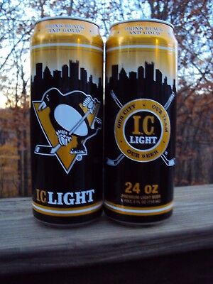 IC LIGHT Limited Edition PITTSBURGH PENGUINS 24 oz. beer can NHL IRON CITY / PBC